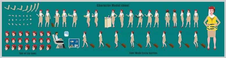 Air hostess Girl Character Design Model Sheet Girl Character design Front side back view and explainer animation poses Character set with lip sync Animation sequence of all front Back and side walk cycle animation sequences vector