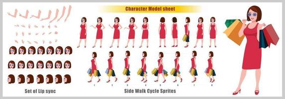Shopping Girl Character Design Model Sheet Girl Character design Front side back view and explainer animation poses Character set with lip sync Animation sequence of all front Back and side walk cycle animation sequences vector