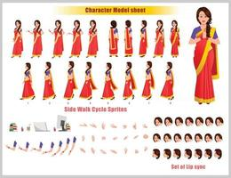 Indian Girl Character Design Model Sheet Girl Character design Front side back view and explainer animation poses Character set with lip sync Animation sequence of all front Back and side walk cycle animation sequences vector