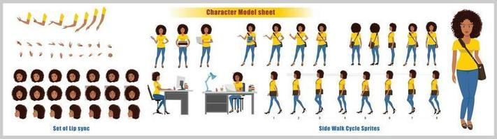 African American Girl Character Design Model Sheet Girl Character design Front side back view and explainer animation poses Character set with lip sync Animation sequence of all front Back and side walk cycle animation sequences vector