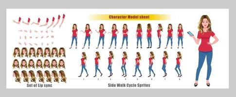 Blond hair Girl Character Design Model Sheet Girl Character design Front side back view and explainer animation poses Character set with lip sync Animation sequence of all front Back and side walk cycle animation sequences vector
