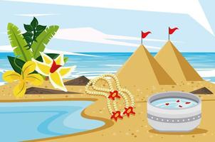 songkran celebration party with dish bowl on the beach vector