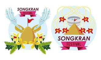 songkran celebration party scenes icons vector