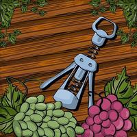 wine corkscrew tool with grapes fruits vector