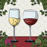 wine cups with grapes fruits vector