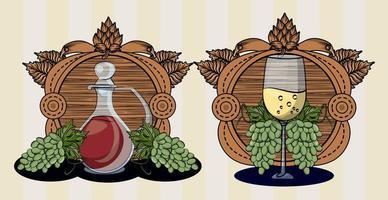 bebida de barril de vino con copa y uvas vector