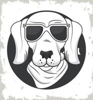funny dog with sunglasses cool style vector