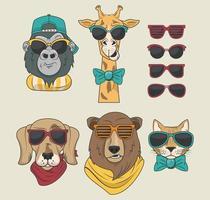 animales divertidos con gafas de sol estilo fresco vector