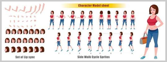 Girl Character Design Model Sheet Girl Character design Front side back view and explainer animation poses Character set with lip sync Animation sequence of all front Back and side walk cycle animation sequences vector