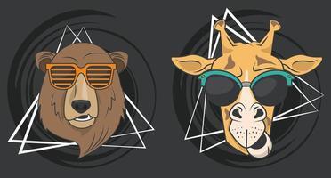 divertida jirafa y oso con gafas de sol estilo fresco vector