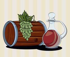 Bebida de barril de vino con tarro y uvas. vector