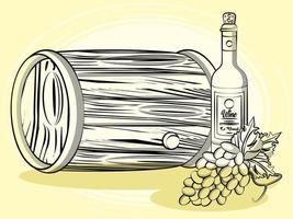 Bebida de barril de vino con botella y uvas. vector