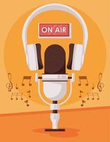 international radio day poster with microphone and headset vector