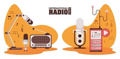 international radio day poster with retro aparatus and microphones vector