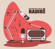 international radio day poster with retro aparatus vector