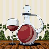 wine jar drink with cup vector