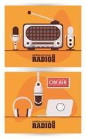 international radio day poster with retro aparatus and laptop vector