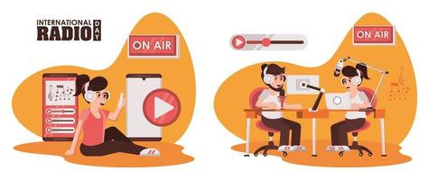 international radio day poster with announcers characters vector