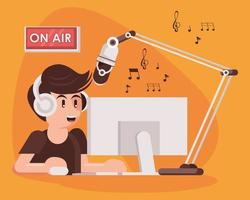 international radio day poster with male announcer vector