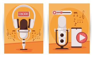 international radio day poster with microphone and smartphone vector
