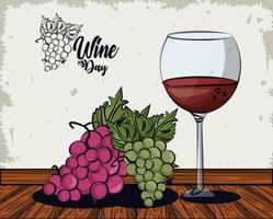 wine cup with grapes fruits vector