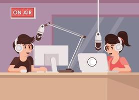 international radio day poster with announcers couple vector