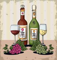 wine cups and bottles with grapes fruits vector
