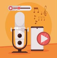 international radio day poster with smartphone vector