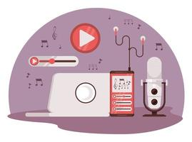 international radio day poster with laptop and microphone vector