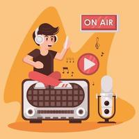 international radio day poster with announcer and retro aparatus vector