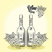 wine bottles drinks with grapes fruits vector