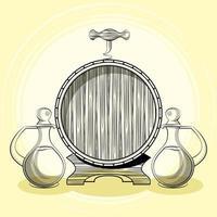 bebida de barril de vino con frascos vector