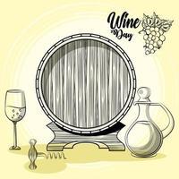 bebida de barril de vino con jarra y copa vector