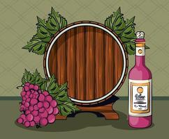wine bottle and grapes fruits with barrel vector