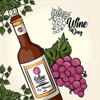 wine bottle drink with grapes fruits vector
