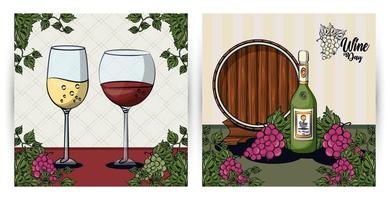 wine cups and barrel with grapes fruits vector