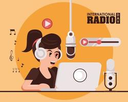 international radio day poster with female announcer vector