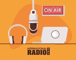 international radio day poster with laptop vector