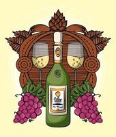 wine cups and bottle with grapes fruits vector