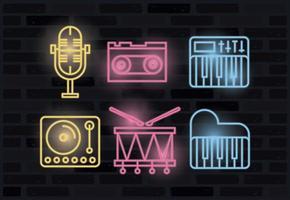 paquete de iconos luces de neón vector