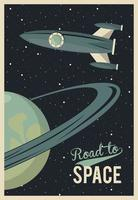 life in the space poster with rocket and saturn vector