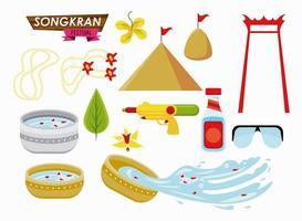 songkran celebration party set icons vector