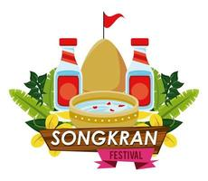 songkran celebration party with bowl water vector