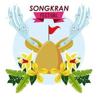 songkran celebration party with bowl water and sand mountain vector