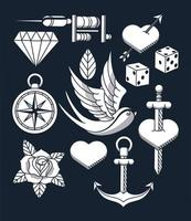 tattoo studio image artistic set icons vector