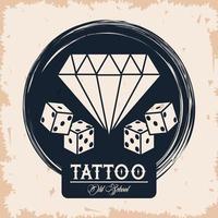 Diamante y dados estudio de tatuajes imagen artística vector