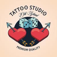 Corazones y dados estudio de tatuajes imagen artística vector
