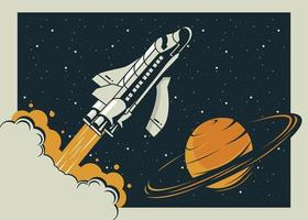 spaceship and saturn in poster vintage style vector