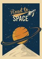camino al espacio letras con el planeta saturno en un cartel de estilo vintage vector