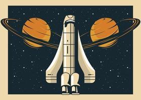 Nave espacial y planetas saturno en estilo cartel vintage. vector